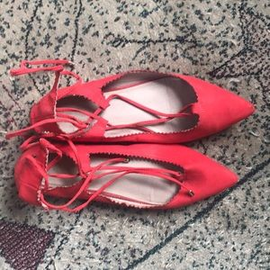 Topshop red flats with lace up